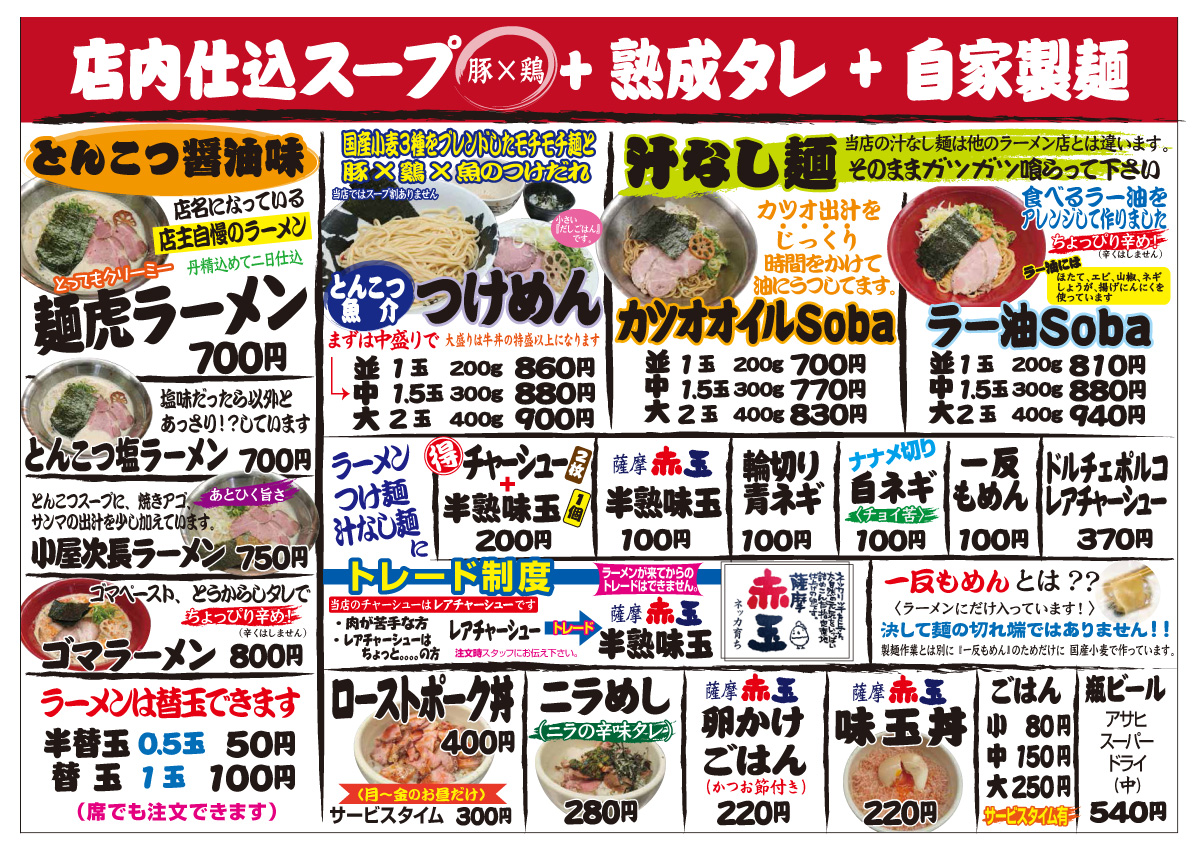 麺虎メニュー